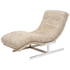 Milo Baughman Wave Chaise Longue Upholstered in Raw Silk