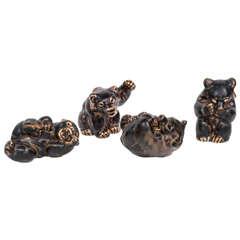 Knud Kyhn Stoneware Bears
