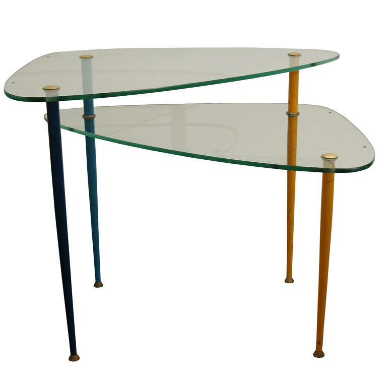 Italian Glass Side Table By Paoli At 1stdibs