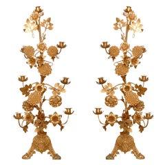 Pair of Gilt Bronze Candelabras