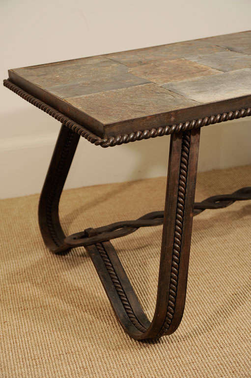 A french wrought iron and tiled stone rectangular coffee for Iron coffee table set
