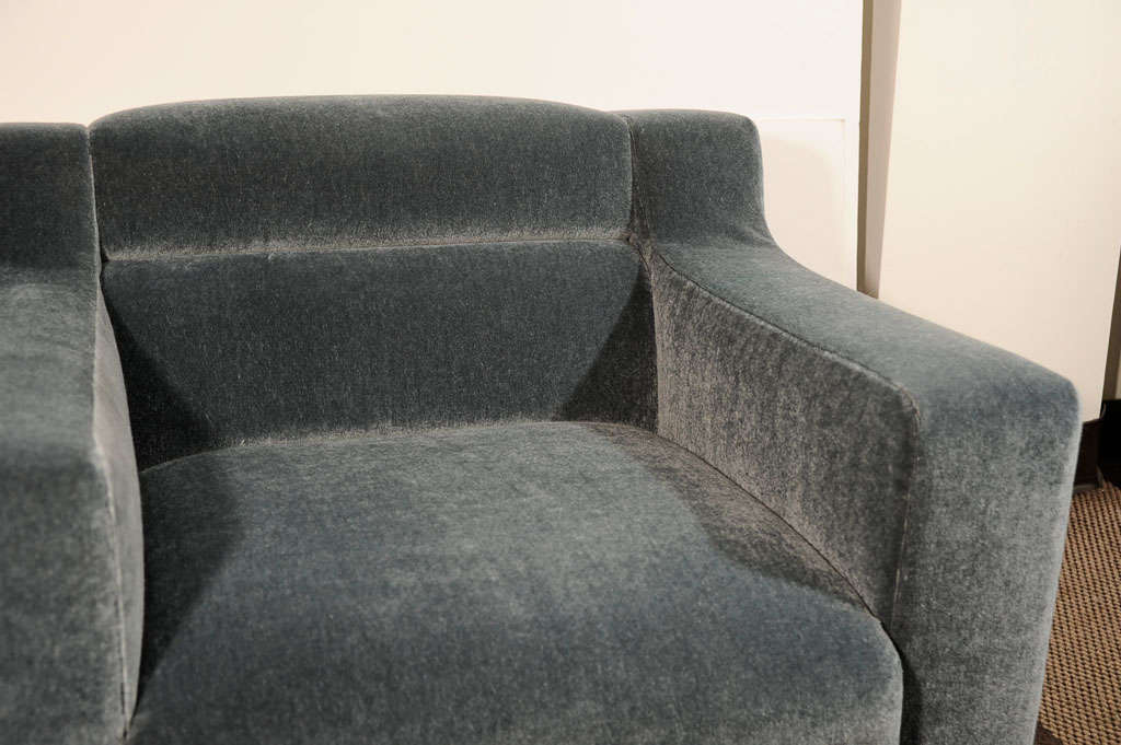 Pair Of Luxe Art Deco Club Chairs In Grey Teal Mohair At