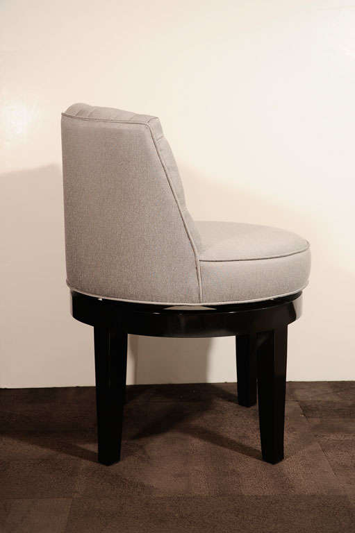 1940 S Hollywood Tufted And Swivel Vanity Stool At 1stdibs