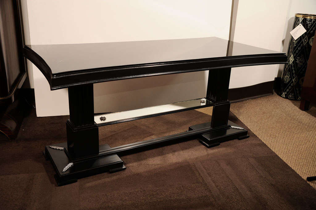 1940s Hollywood Cocktail Table with Dual Pedestals Designed by James Mont For Sale 2