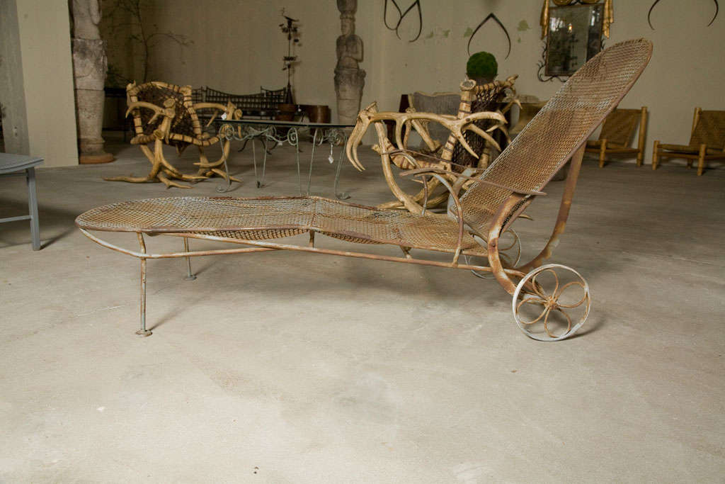 Rustic Wrought Iron Chaise Lounge At 1stdibs