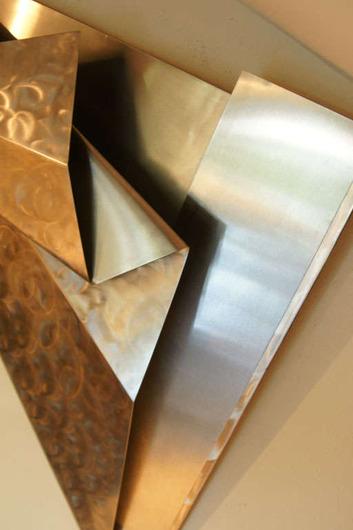 Stainless steel wall sculpture at 1stdibs for Stainless steel wall art