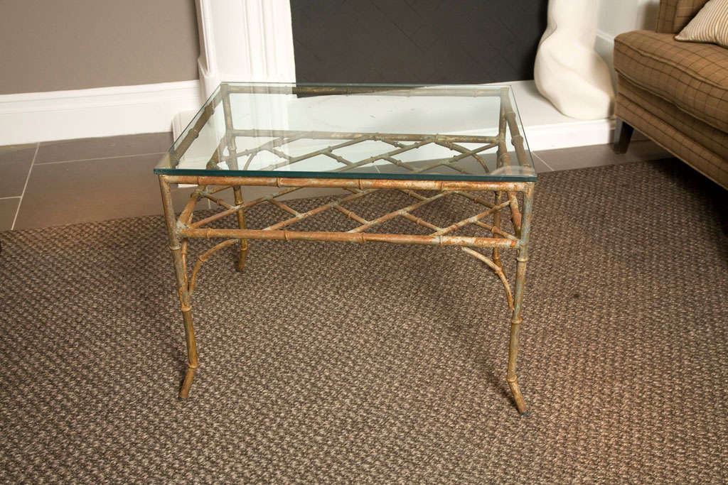 Vintage Distressed Faux Bamboo Metal Side Table At 1stdibs