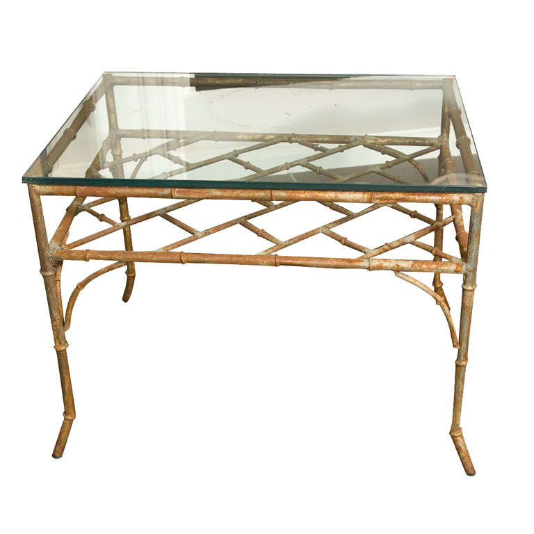 Italian Gold Gilt Iron And Glass Faux Bamboo Metal Square: Vintage Distressed Faux Bamboo Metal Side Table At 1stdibs