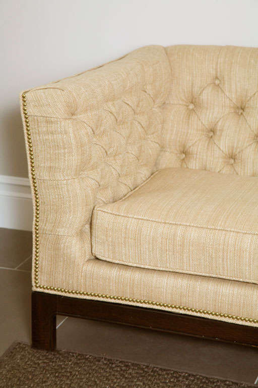 Large Button Tufted Sofa with Single Cushion and Nail Head Trim 3