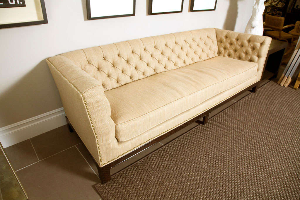 Large Button Tufted Sofa with Single Cushion and Nail Head Trim 6