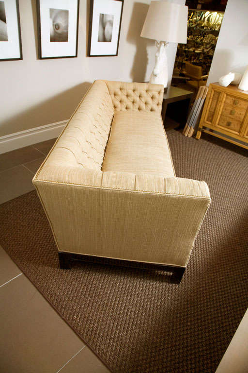 Large Button Tufted Sofa with Single Cushion and Nail Head Trim 7