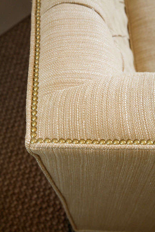 Large Button Tufted Sofa with Single Cushion and Nail Head Trim 8