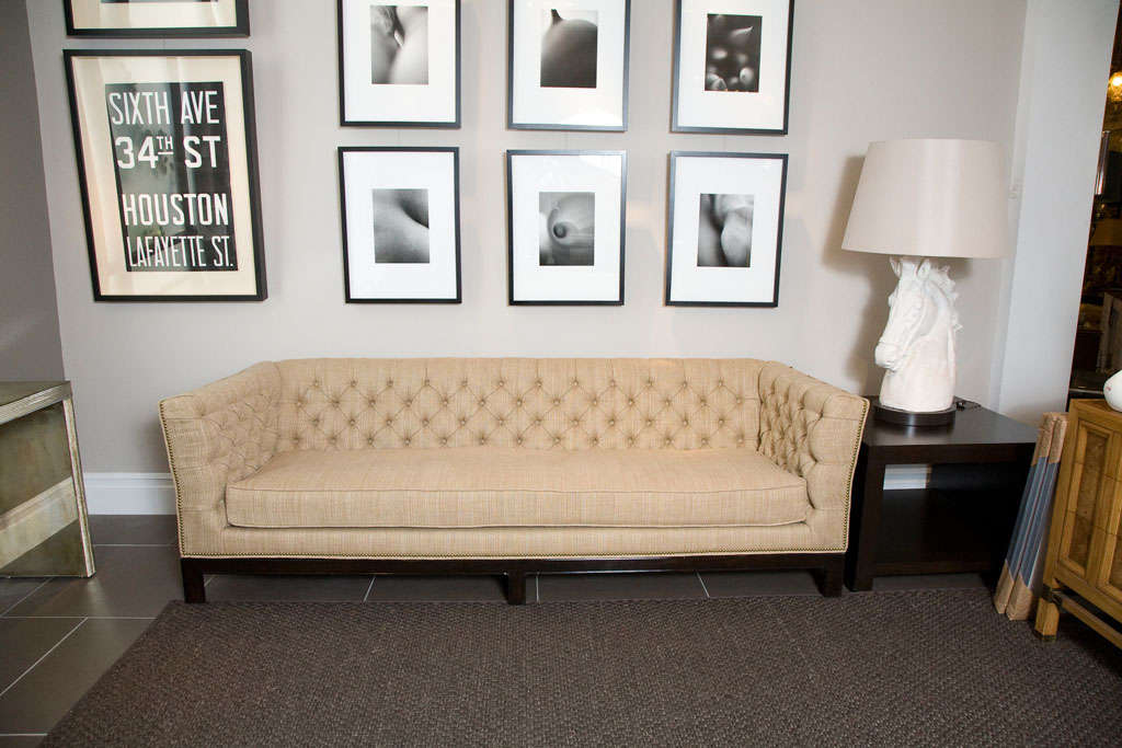 Large Button Tufted Sofa with Single Cushion and Nail Head Trim 9