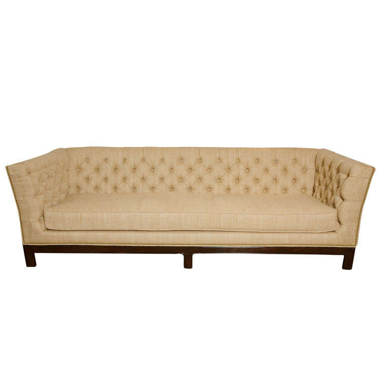 Large Button Tufted Sofa with Single Cushion and Nail Head Trim 1