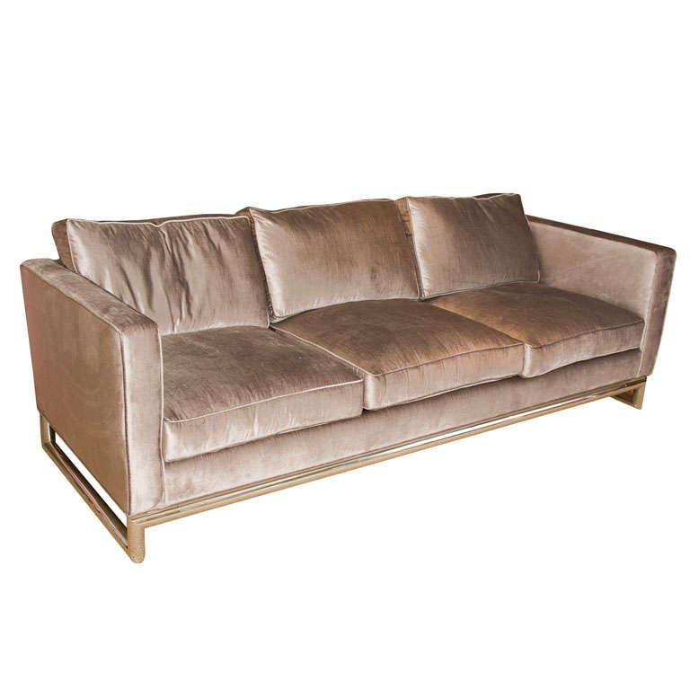 Beige Velvet Sofa