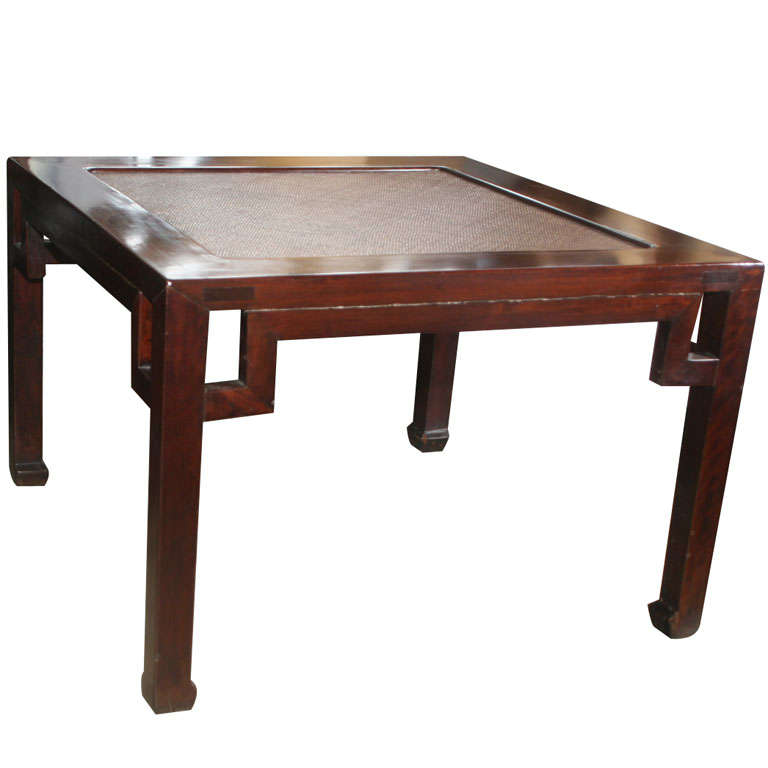 Meditation Bench / Table With Cane Inset At 1stdibs