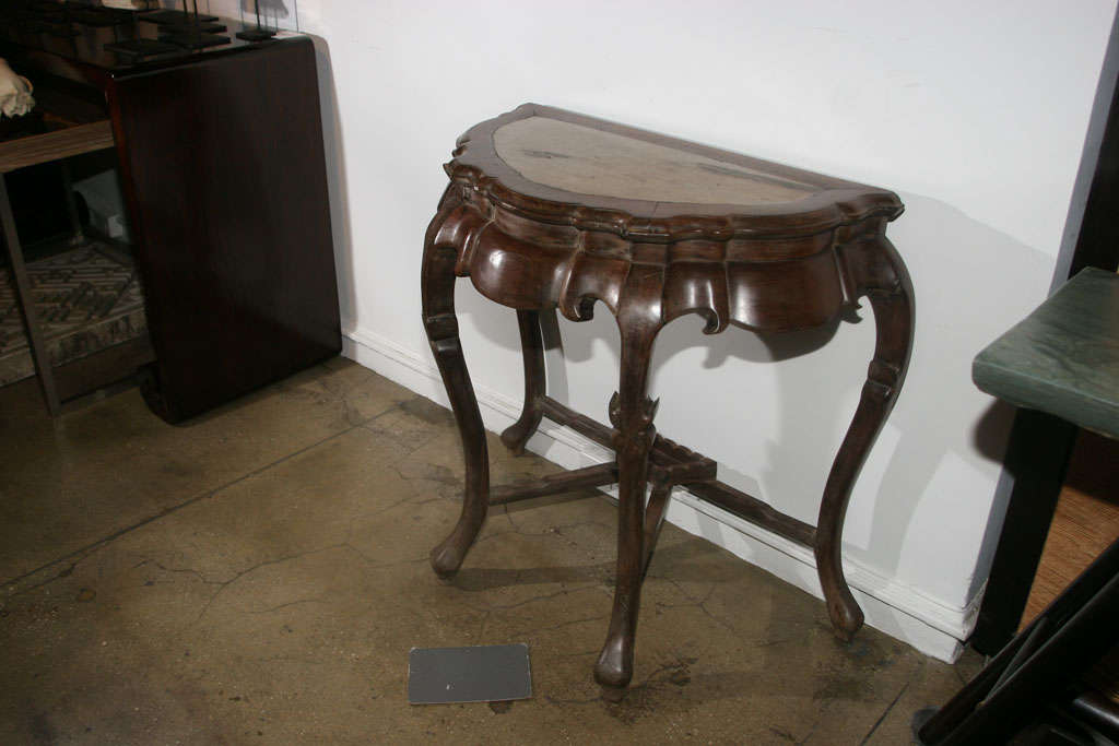 18th century blackwood half moon console with marble top for Table insert th