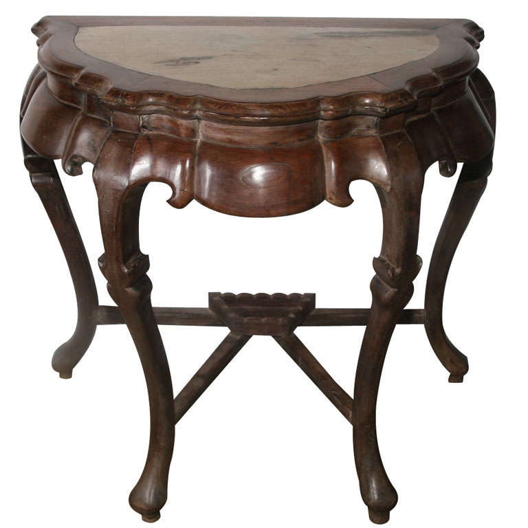 18th Century Blackwood Half Moon Console With Marble Top Insert For Sale