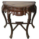 18th Century Blackwood Half Moon Console with Marble Top Insert