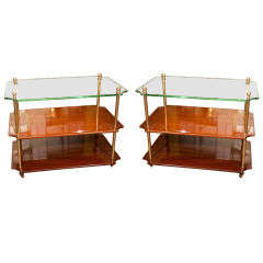 Pair of Mahogany & Glass End Tables