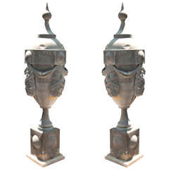 Pair of Impressive Zinc Finial Architectural Elements