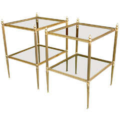 Pair of Bagues Bronze & Glass End Tables