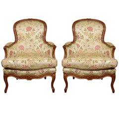 Pair of Louis XV Walnut Bergeres