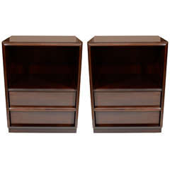 Pair of Robsjohn Gibbings for Widdicomb Walnut Nightstands