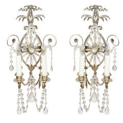 Pair of 19th Century Silver Leaf and Crystal Sconces