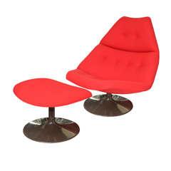 Geoffrey Harcourt swivel chair and ottoman