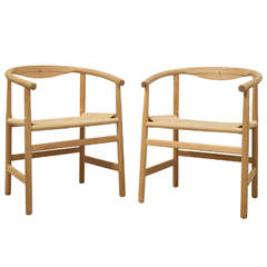 Hans Wegner Pair of Armchairs, Model PP-201