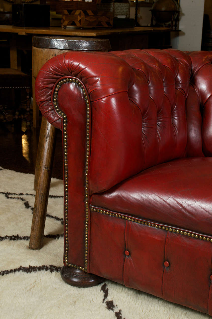 Red Leather Chesterfield Sofa at 1stdibs