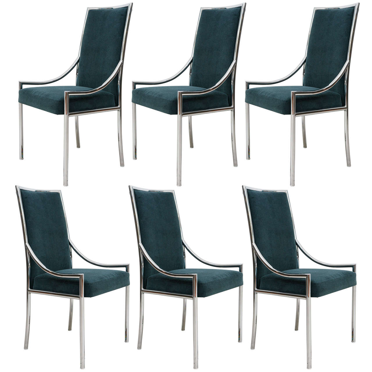 Set Of Six Chrome And Velvet Dining Chairs At 1stdibs