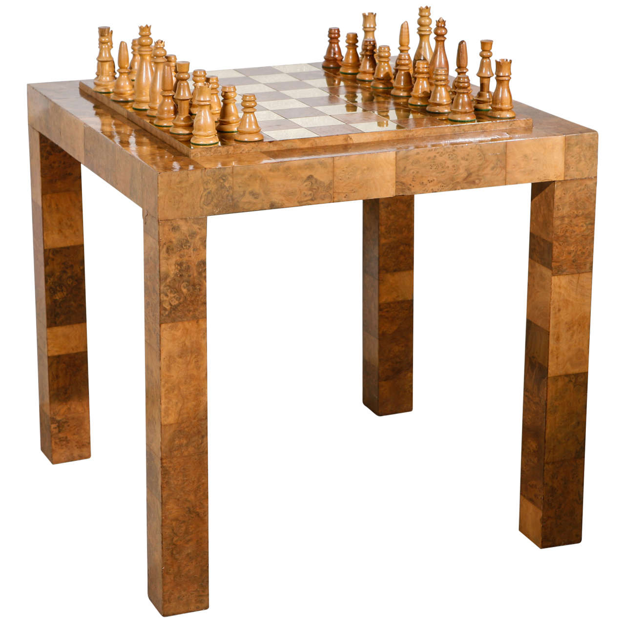 Paul Evans Patchwork Olive Burl and Brass Game Table and Chess Set