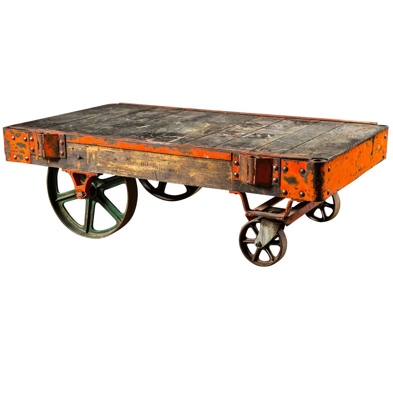 Industrial Coffee Table On Wheels At 1stdibs: American Industrial Factory Cart, Mid 20th C At 1stdibs