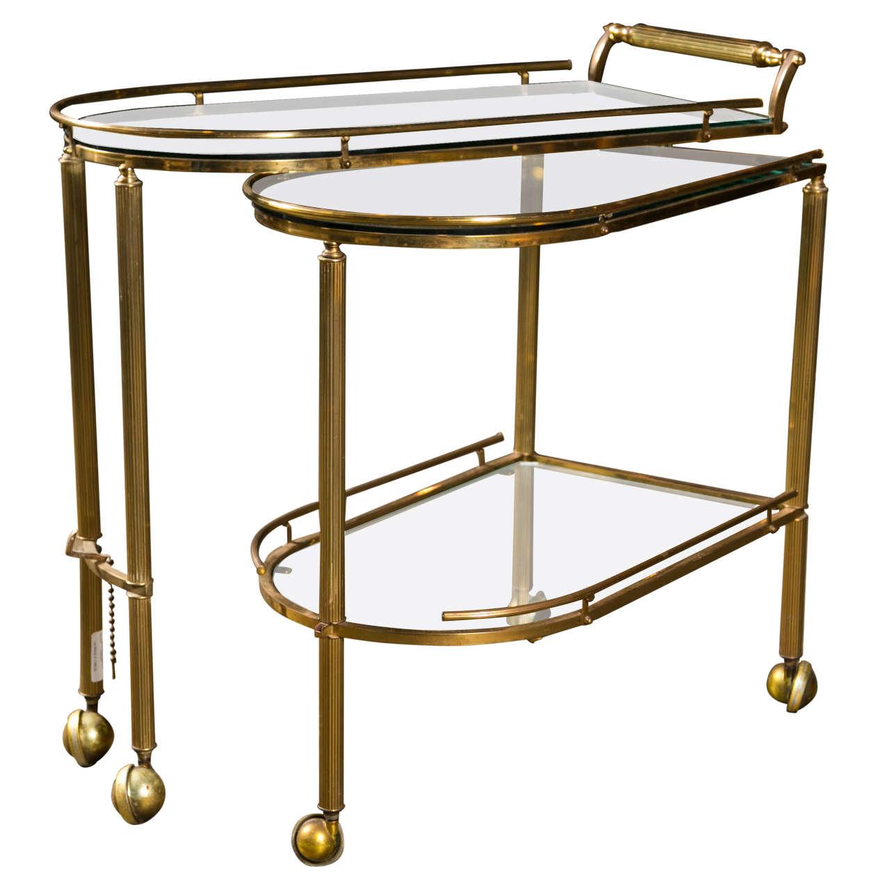 mid century american brass rolling bar cart c 1950 at. Black Bedroom Furniture Sets. Home Design Ideas