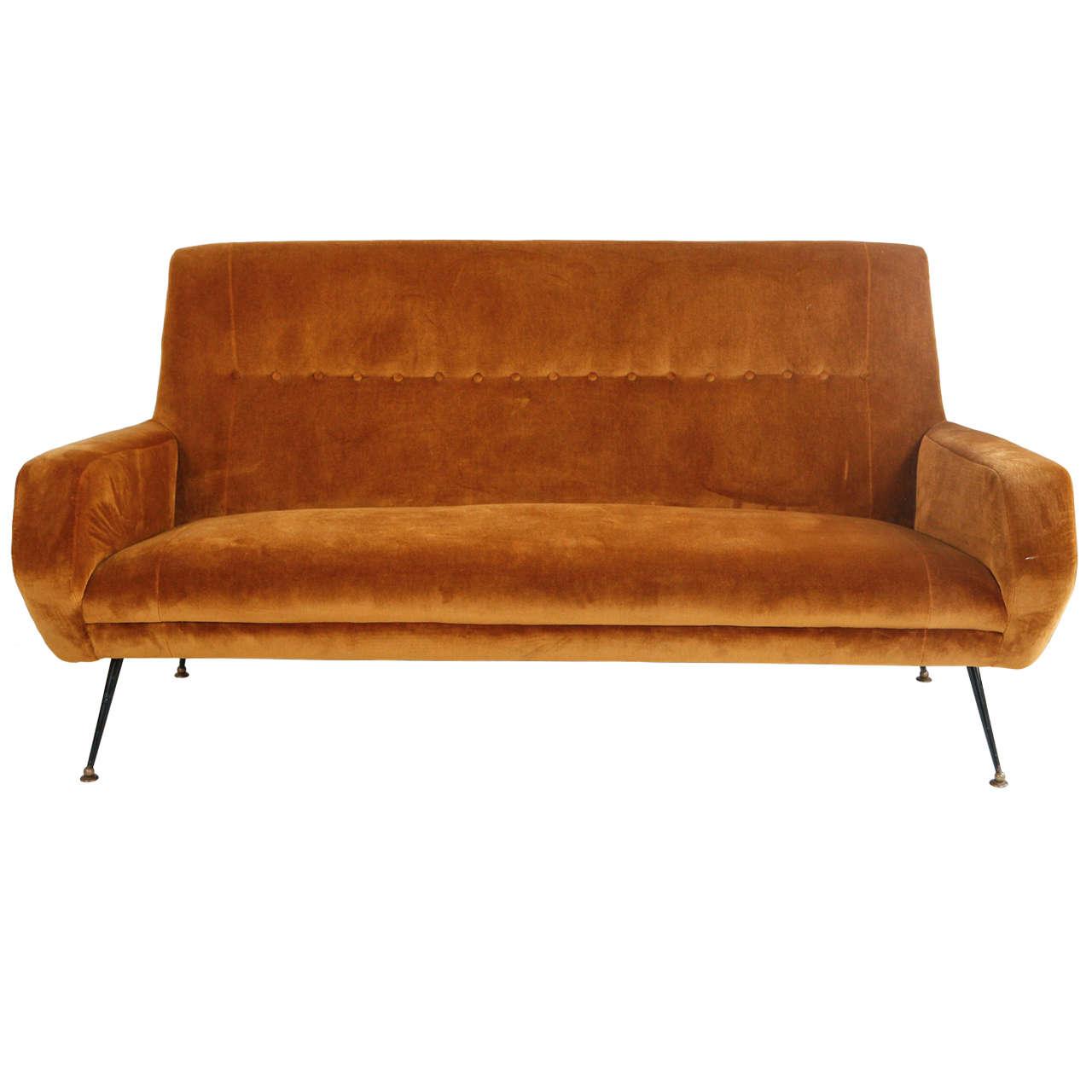 Mid Century Italian Velvet Sofa at 1stdibs : X from www.1stdibs.com size 1280 x 1280 jpeg 67kB