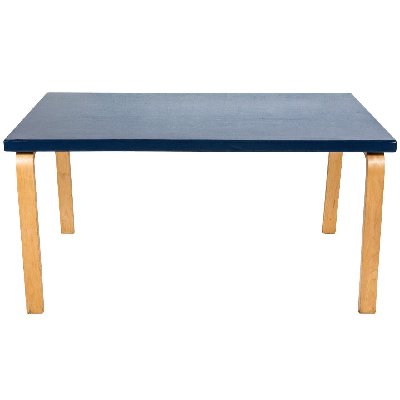 Alvar Aalto Tall Coffee Table With Lacquered Blue Top At 1stdibs