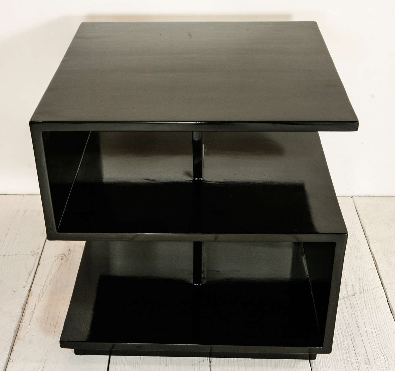 Modern Cubist Side Tables In Black Lacquer At 1stdibs