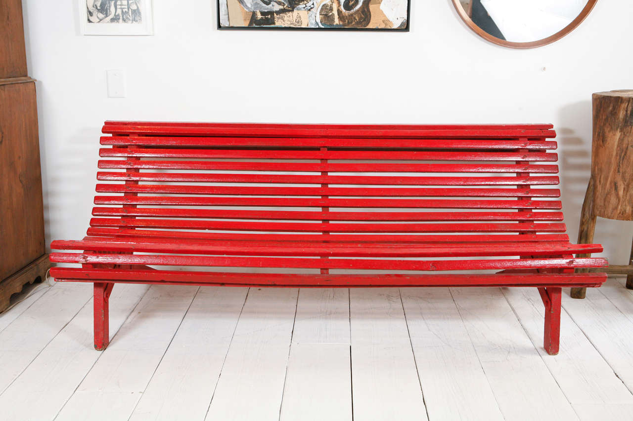 Perfect Curved Red Italian Outdoor Slatted Garden Bench 2