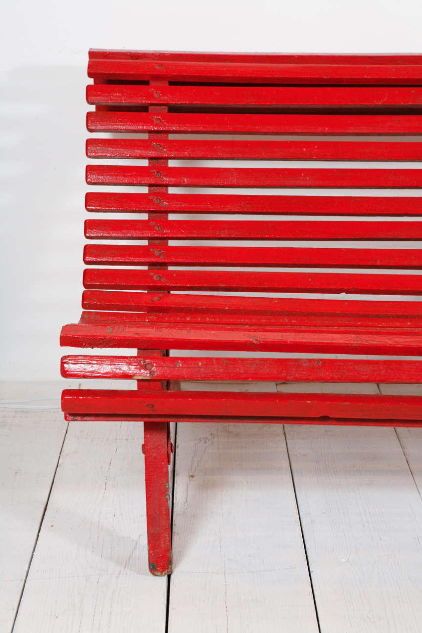 Curved Red Italian Outdoor Slatted Garden Bench At 1stdibs