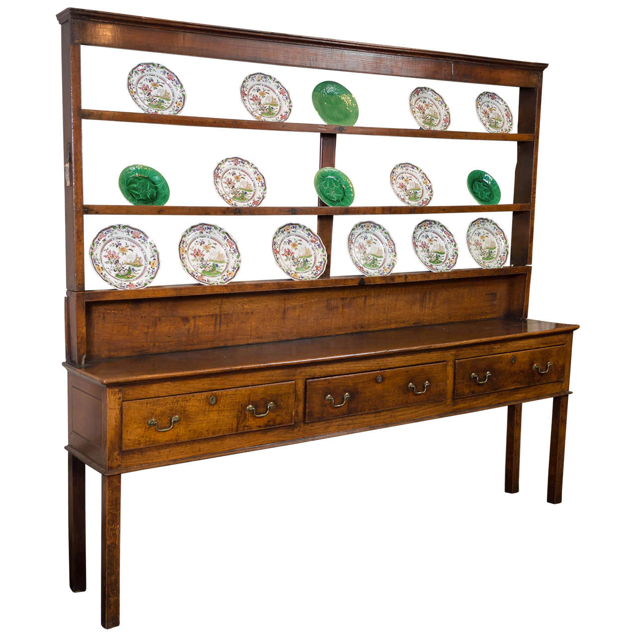 Dark Wood Welsh Dresser: Early Oak Welsh Dresser With Upper Rack At 1stdibs