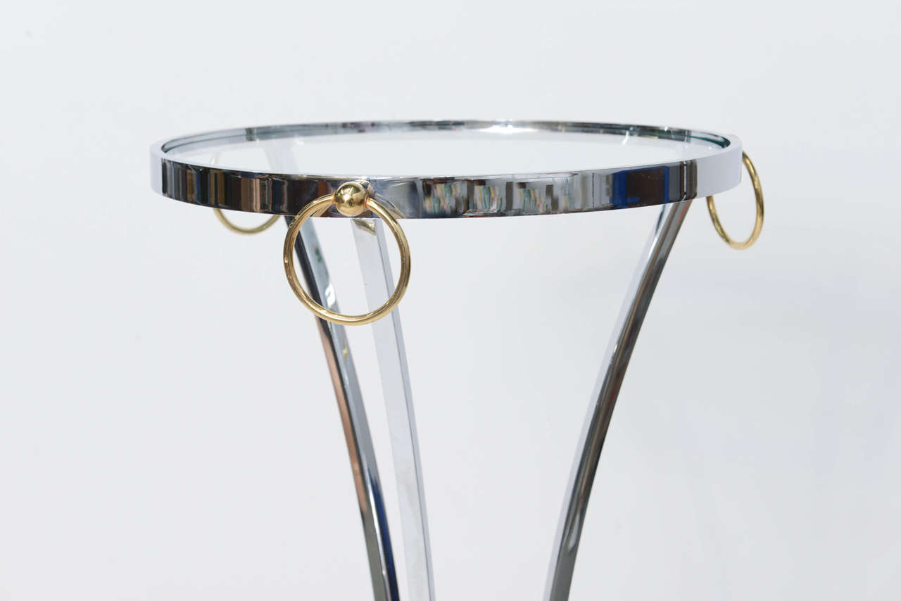 Elegant Maison Jansen Empire Style Chrome and Brass Pedestal Table In Excellent Condition For Sale In Miami, FL