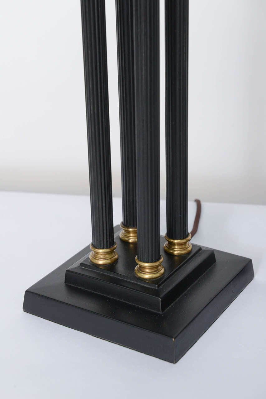 Exquisite Pair of Neoclassical Column Table Lamps In Excellent Condition For Sale In Miami, FL