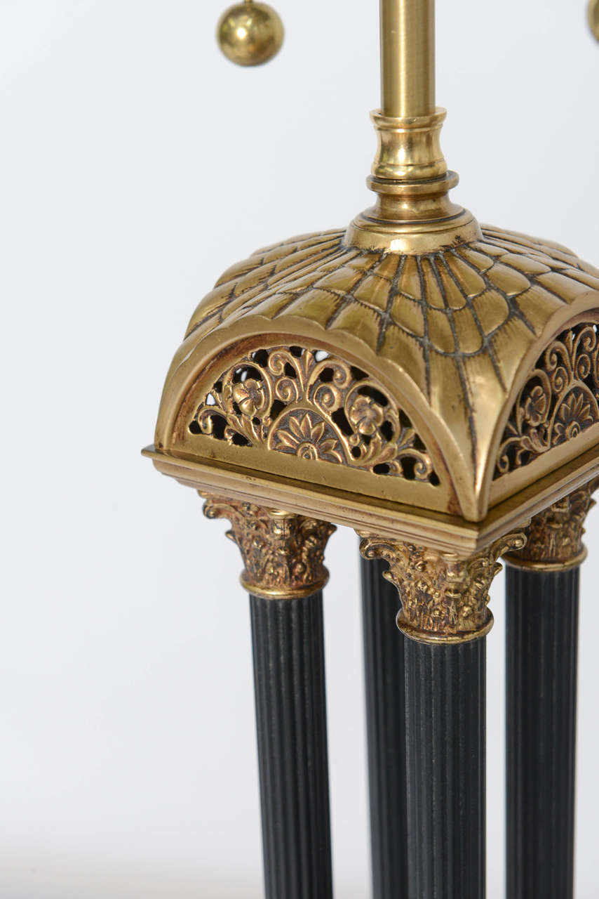 Mid-20th Century Exquisite Pair of Neoclassical Column Table Lamps For Sale