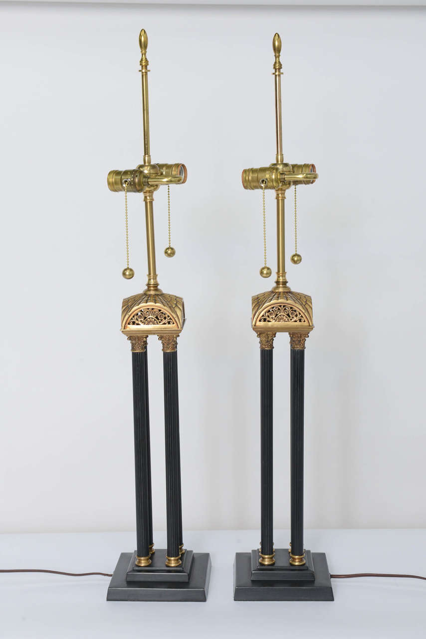 Brass Exquisite Pair of Neoclassical Column Table Lamps For Sale