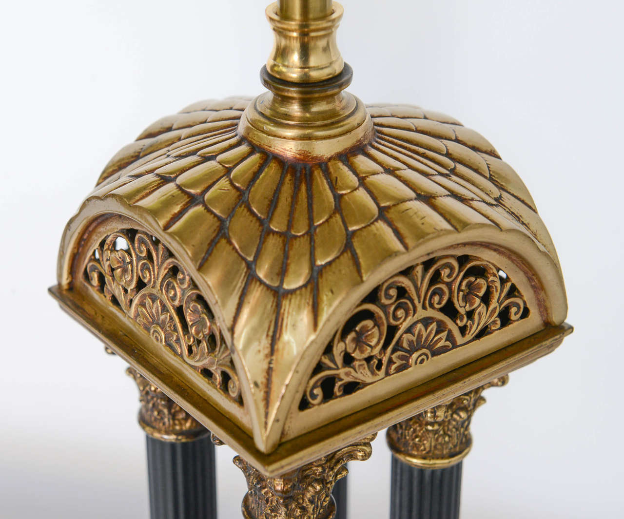 Exquisite Pair of Neoclassical Column Table Lamps For Sale 1