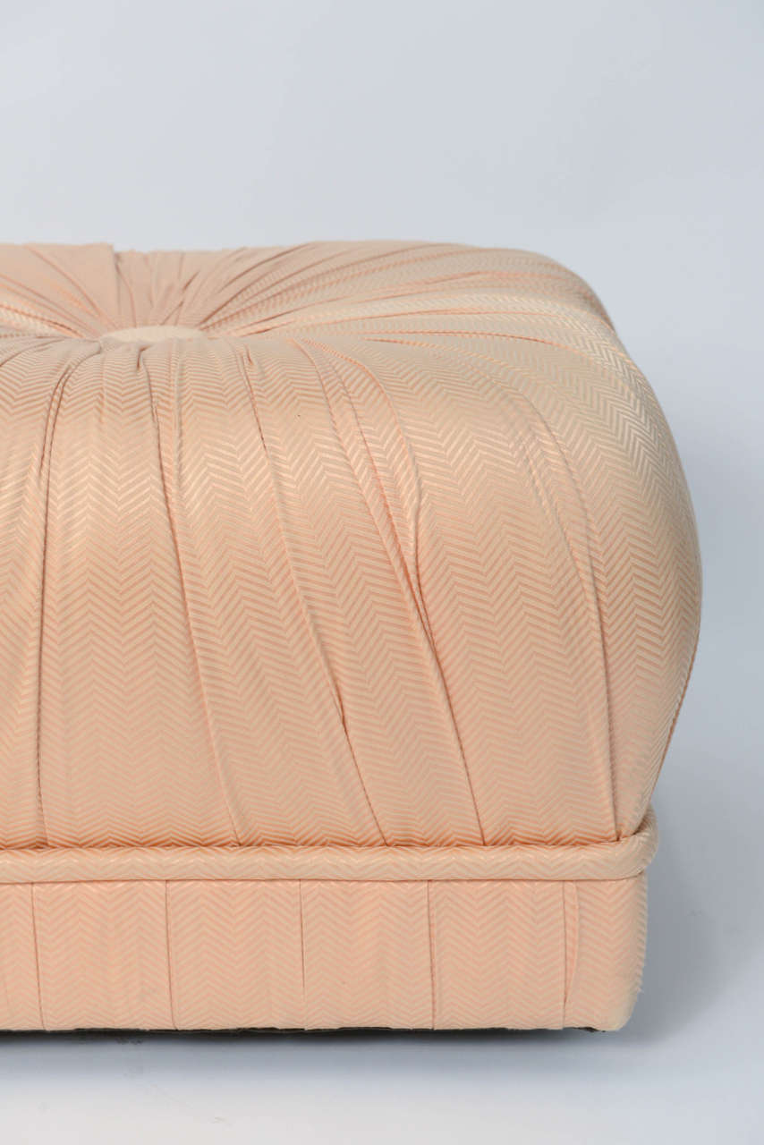 American Luxe Pair of Hollywood Poufs or Ottomans on Casters For Sale