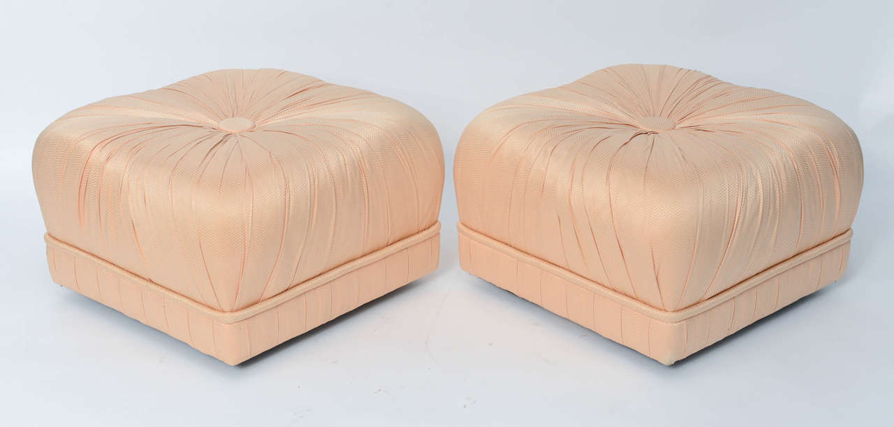 Late 20th Century Luxe Pair of Hollywood Poufs or Ottomans on Casters For Sale