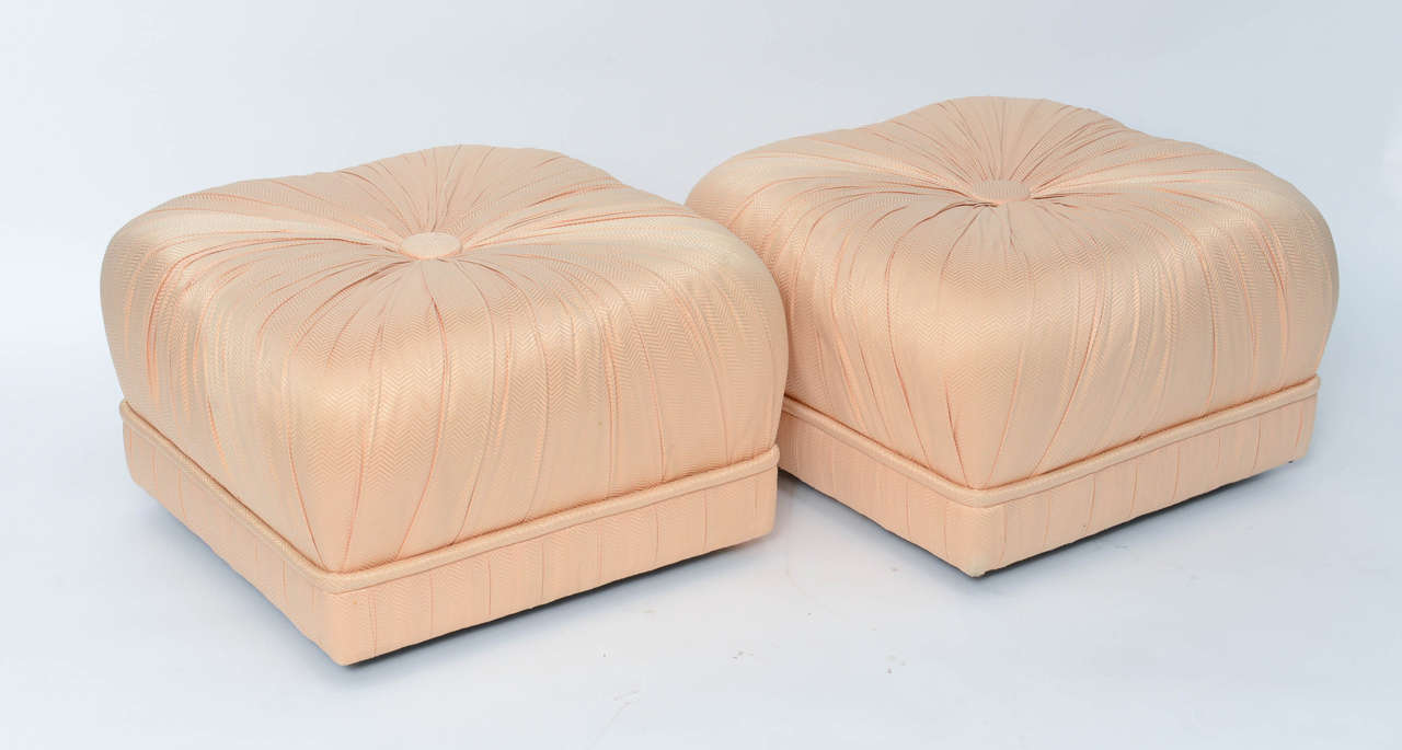 Luxe Pair of Hollywood Poufs or Ottomans on Casters For Sale 4
